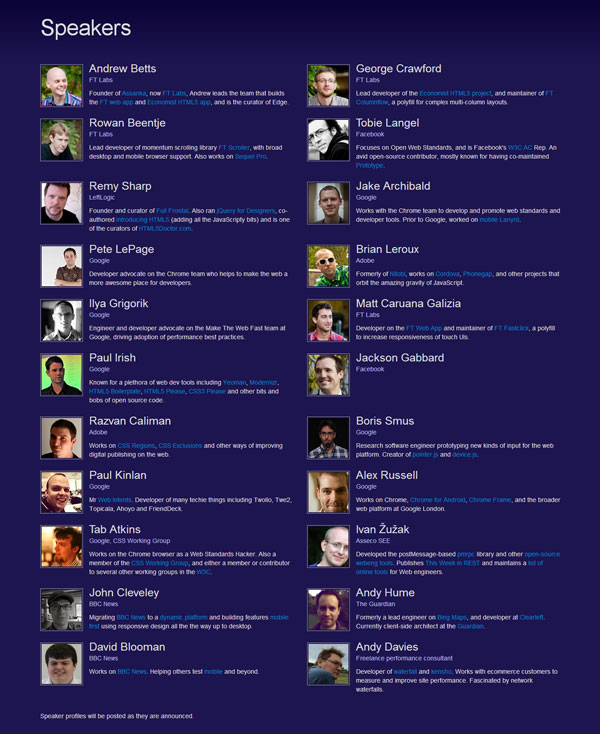 The lineup (as of 3rd January 2013) of speakers at Edge Conference